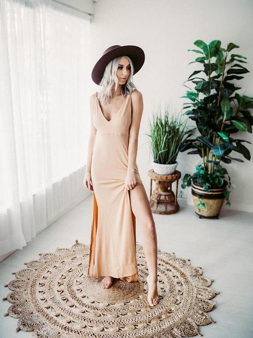 Slip Dresses - beige and white