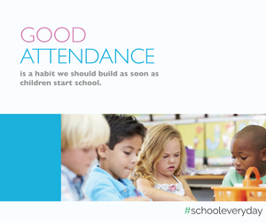 Good Attendance, children at table.