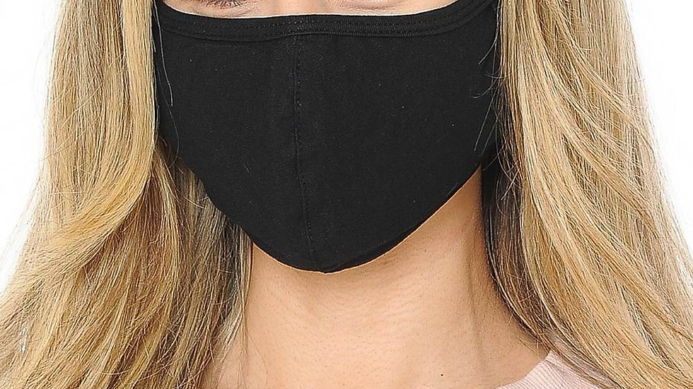 Womens Black Cotton Face Mask W/Pocket
