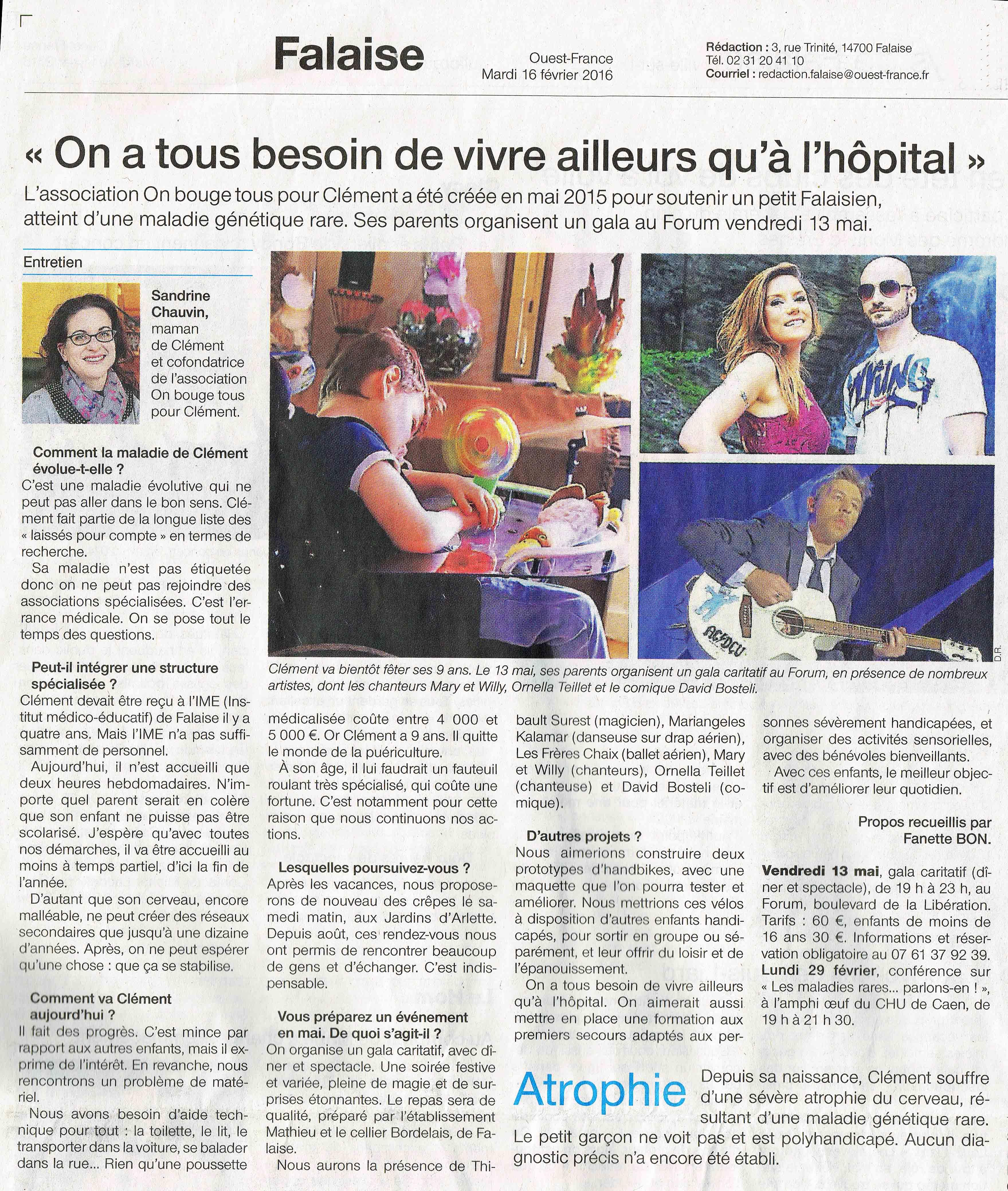Ouest France 16 fevrier 2016