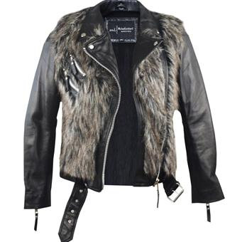 MINKA- Black Sheepskin Leather Moto Jacket with Faux Brown Fur