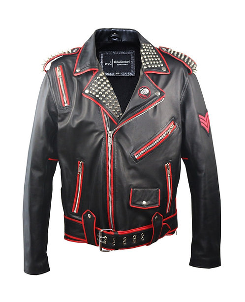 PETER- Black Studded Cross Sheepskin Moto Jacket with Patches and Red Piping