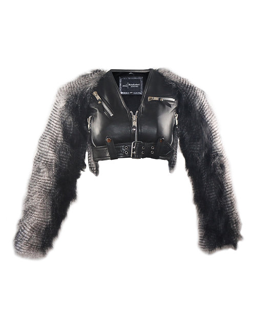 YETI- Black Bra Sheepskin Leather Jacket with Faux Grey and Black Peacock Fur