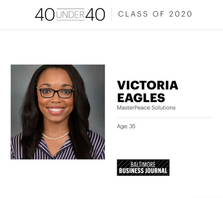 MasterPeace Solutions' Victoria Eagles Named to Baltimore Business Journal's 40 Under 40 List for 20