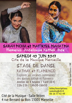 Stage Kathak et Flamenco Samedi 10 juin 2017 à la Cité de la Musique