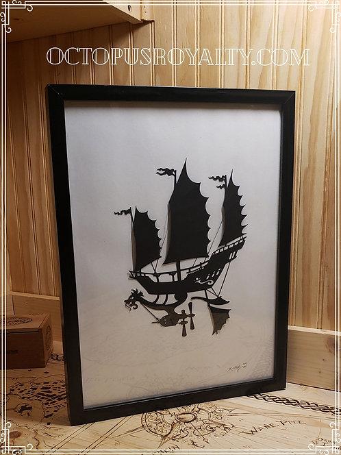 """'The Dragon Emperor' - 11""""x17"""" cutpaper"""