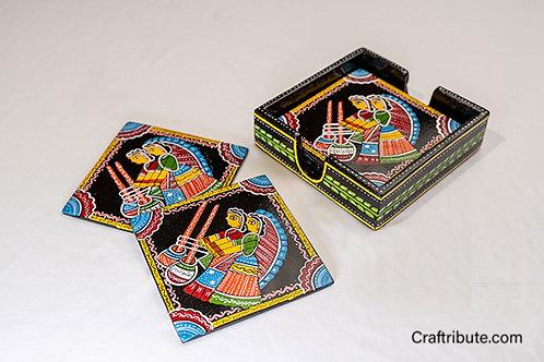 Tikuli Art Coaster set of 6 with a holder
