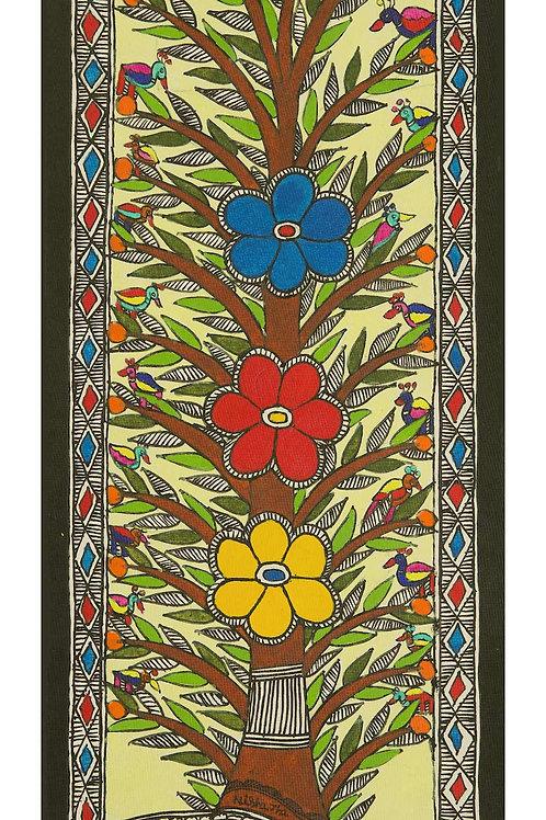 Madhubani Painting -Floating Flowers