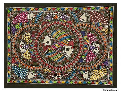 Madhubani - Matsya Mandala -Small