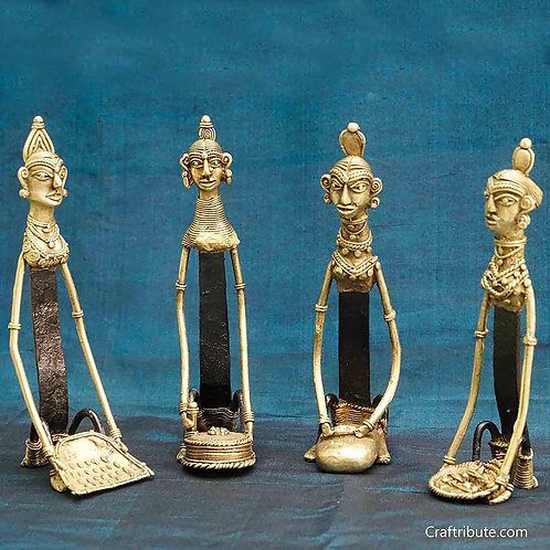 Dhokra Figurines - Set of Four Women engaged in Household Chores