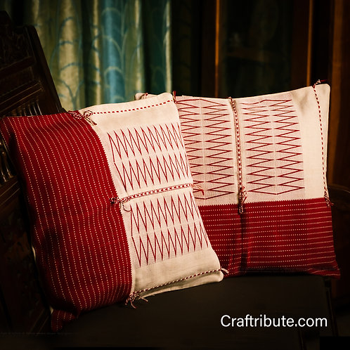 Handcrafted Red & White Cushion Cover