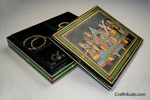 Tikuli art handpainted jewellery box - open
