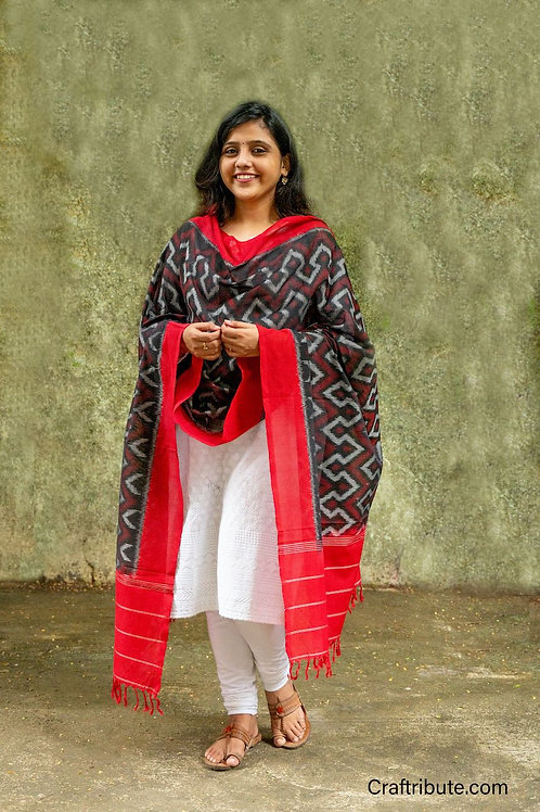 Double Ikat Red Wave Dupatta