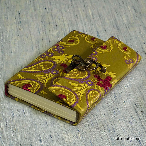 Notebook with a lock -  Yellow & Purple Floral design