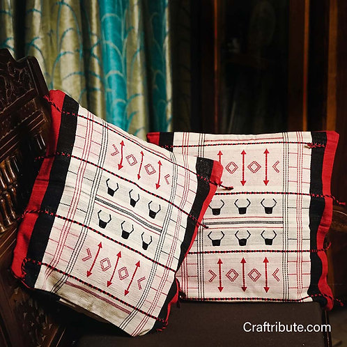 Handcrafted Red & Black Geometric Pattern Cushion Cover