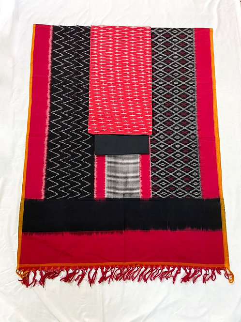 Double Ikat Red Suit Dress Material