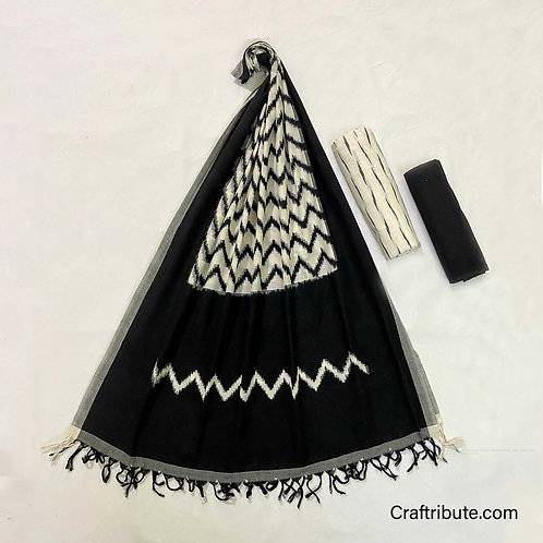 Double Ikat Black White Wave Dress Material