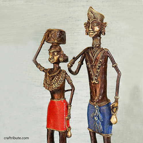 Handcrafted Dhokra Tribal Couple