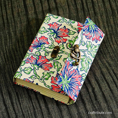 Notebook with a lock - Blue & Pink Floral design