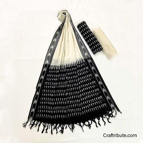 Single Ikat Black White Suit Dress Material
