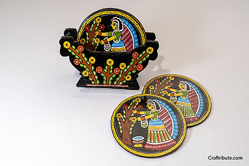 Tikuli hand painted Coaster set with holder