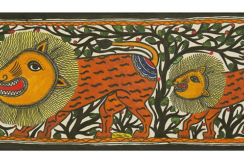 Madhubani Painting - Lion King