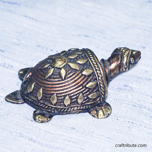Dhokra Feng Shui Tortoise -Small