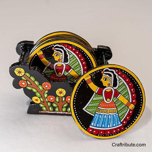 Tikuli Art hand painted Coaster set of 6 with holder