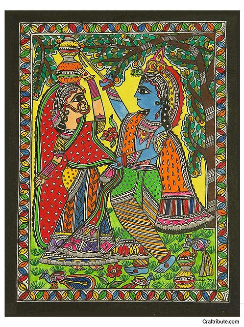 Madhubani Painting - Machhan chor - Coloured
