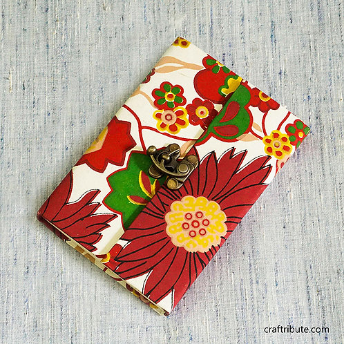 Notebook with a lock - Red and White Floral design