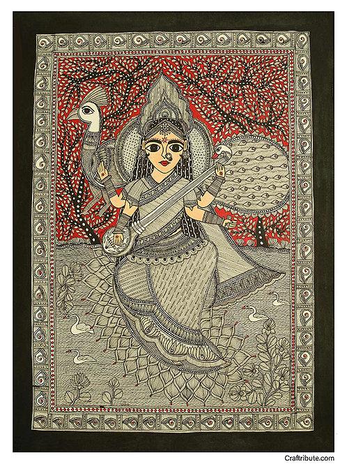 Madhubani Painting - Devi Saraswati