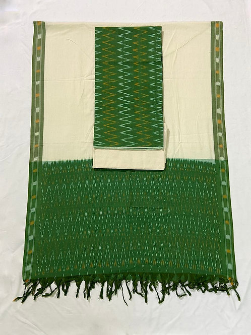 Single Ikat Green Suit Dress Material