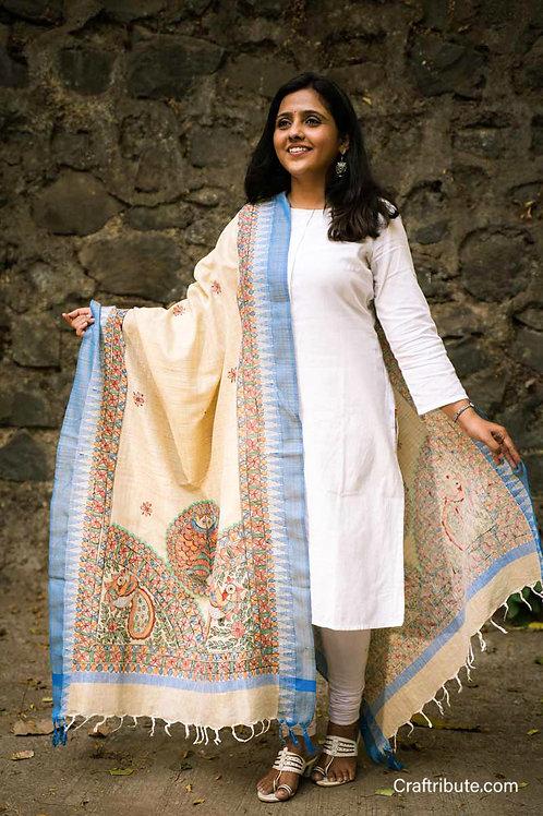 Madhubani Cotton Silk Dupatta with Blue Border