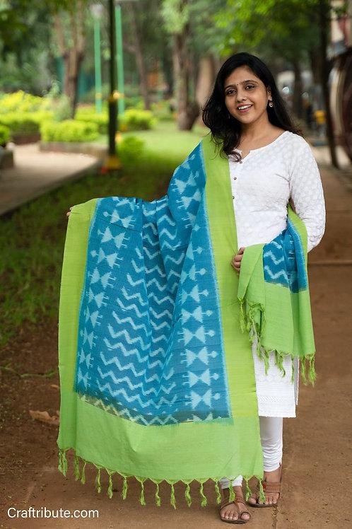 Double Ikat Green Blue Warli Dupatta