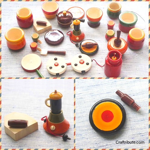 Kitchen Set (Bhatukali) - Wooden Lacquer finished