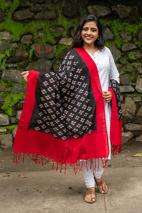 Double Ikat Flowers Dupatta