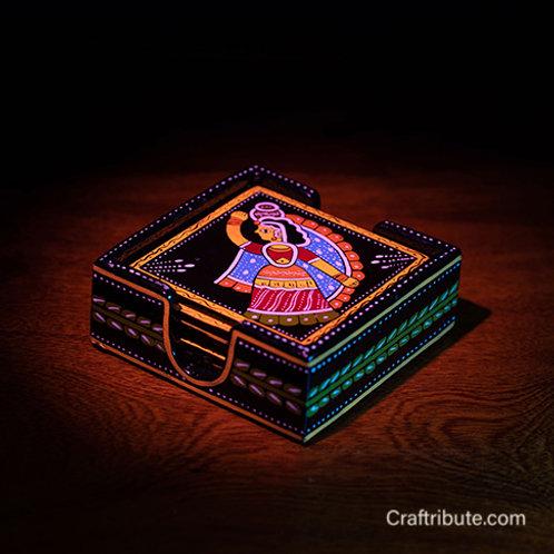 Tikuli art handpainted coaster set with holder - side view