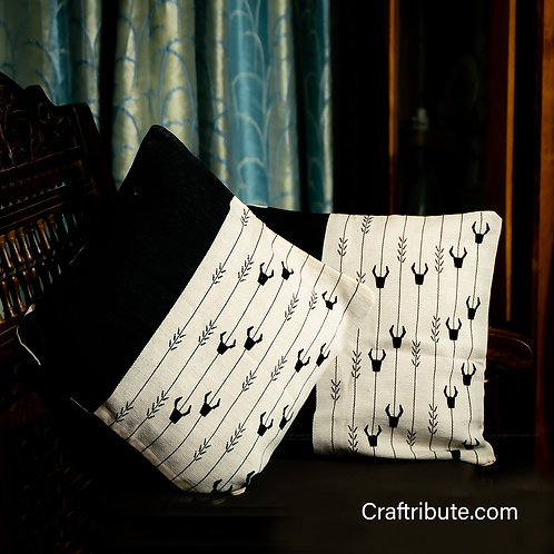 Handcrafted Black & White Cushion Cover