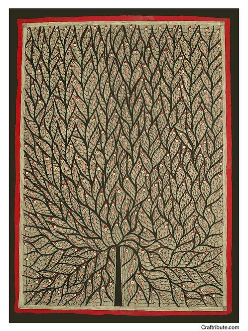 Madhubani - Tree of Life (Black & Red)