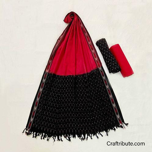 Single Ikat Black Red Suit Dress Material
