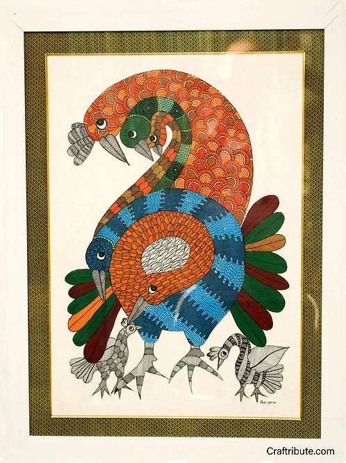 Gond Painting - 7 Peacocks - with frame