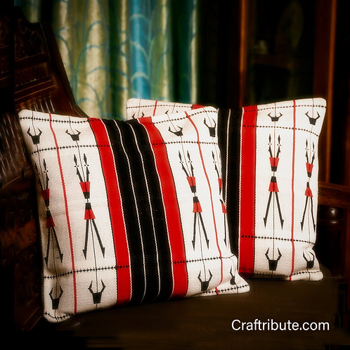 Handcrafted Red & Black Cushion Cover