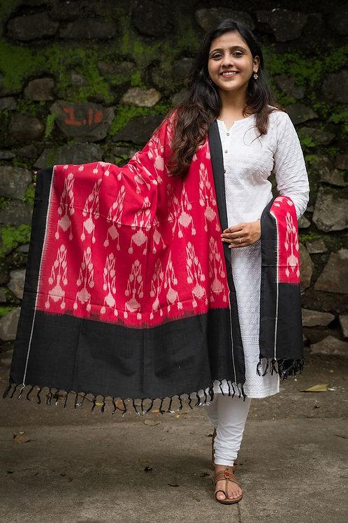 Double Ikat Red Black Handloom PochampallyDupatta
