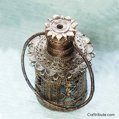 Dhokra Cylindrical Lamp