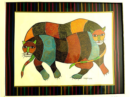 Gond Painting - Crouching Tigers - with frame