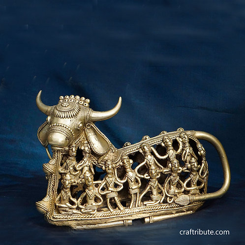 Dhokra Nandi with Figurines Design - Big