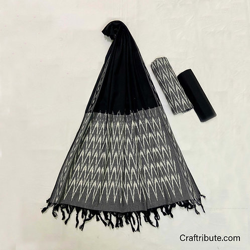 Single Ikat Black Grey Suit Dress Material
