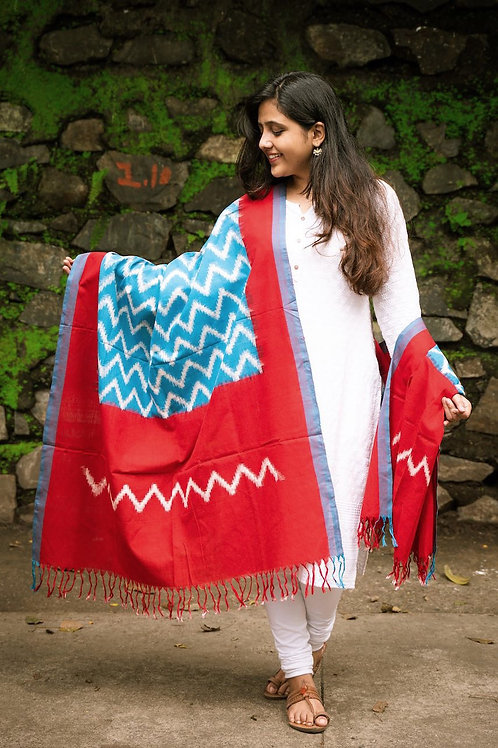 Double Ikat Blue and Red Wave Dupatta