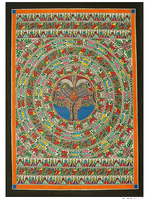 Madhubani - Gondana - Peacock Light blue Plumage