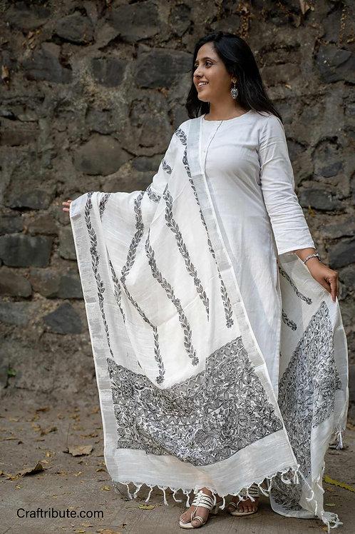 Madhubani Cotton Dupatta with Bel Design (B&W)